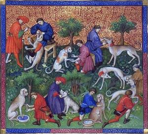 """Рисунок Гастона Фебуса (XV век) из его """"Книги охоты"""""""